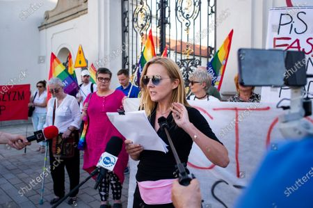 Stock Picture of Group of antifascits, mostly women, along with LGBT activists, protested today against Polish Government, which just subsidized far-right NGOs with 700 000 EUR. Protesters gathered in front of Ministry of Culture and National Heritage responsible for the decision. Warsaw, Poland, on June 28th, 2021.