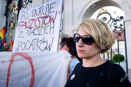 Group of antifascits, mostly women, along with LGBT activists, protested today against Polish Government, which just subsidized far-right NGOs with 700 000 EUR. Protesters gathered in front of Ministry of Culture and National Heritage responsible for the decision. Warsaw, Poland, on June 28th, 2021.