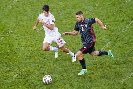 Stock Image of Mateo Kovacic of Croatia and Rodri Hernandez of Spain