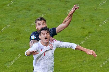 Alvaro Morata of Spain and Mateo Kovacic of Croatia