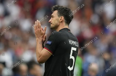 Mats Hummels of Germany reacts after losing the UEFA EURO 2020 round of 16 soccer match between England and Germany in London, Britain, 29 June 2021.