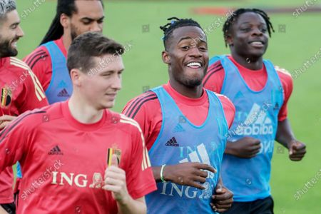 Michy Batshuayi (C) and Jeremy Doku of Belgium (R) attend a training session in Tubize, Belgium, 29 June 2021. Belgium will face Italy in their UEFA EURO 2020 quarterfinal soccer match on 02 July 2021.