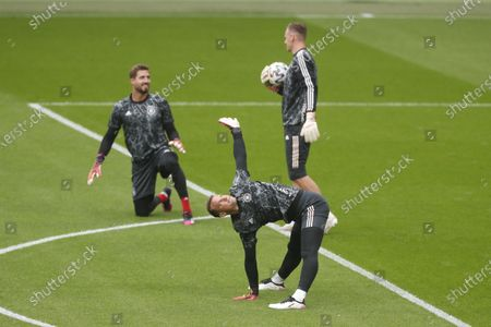 Germany's goalkeeper Manuel Neuer warms up ahead of the Euro 2020 soccer championship round of 16 match between England and Germany, at Wembley stadium, in London