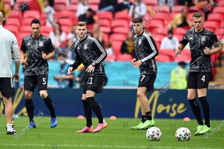 (L-R) Mats Hummels, Timo Werner, Kai Havertz and Matthias Ginter of Germany warm up prior the UEFA EURO 2020 round of 16 soccer match between England and Germany in London, Britain, 29 June 2021.