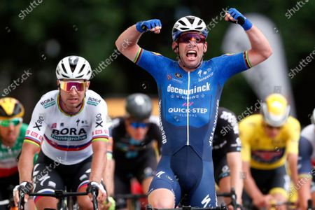 Britain's Mark Cavendish, with Solvakia's Peter Sagan on his side, celebrates as he crosses the finish line to win the fourth stage of the Tour de France cycling race over 150.4 kilometers (93.5 miles) with start in Redon and finish in Fougeres, France