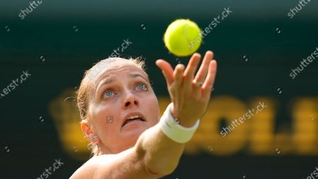 Czech Republic's Petra Kvitova during the women's singles match against Sloane Stephens of the US on day one of the Wimbledon Tennis Championships in London