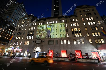 Marc Jacobs fall/winter 2021 fashion show projected on the exterior of Bergdorf Goodman department store, in New York