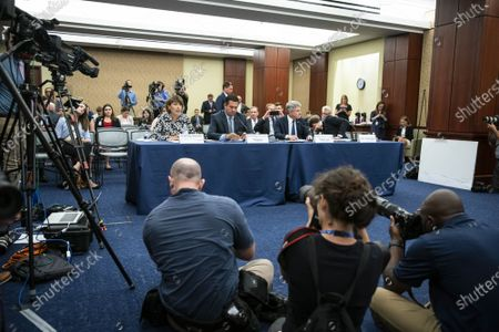 Reps. Cathy McMorris Rodgers, (R-WA), Devin Nunes (R-CA), Michael McCaul, (R-TX), and Mike Gallagher, (R-WI), (L to R) participate in a forum on the origin of the coronavirus pandemic with Republican members of the House Select Subcommittee on the Coronavirus Crisis on Capitol Hill in Washington, DC, on Tuesday, June 29, 2021. The debate over whether the coronavirus emerged from a laboratory in Wuhan, China has escalated over the past few weeks.