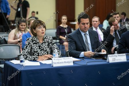 Rep. Cathy McMorris Rodgers, (R-WA), alongside Rep. Devin Nunes (R-CA), speaks during a forum on the origin of the coronavirus pandemic with Republican members of the House Select Subcommittee on the Coronavirus Crisis on Capitol Hill in Washington, DC, on Tuesday, June 29, 2021. The debate over whether the coronavirus emerged from a laboratory in Wuhan, China has escalated over the past few weeks.