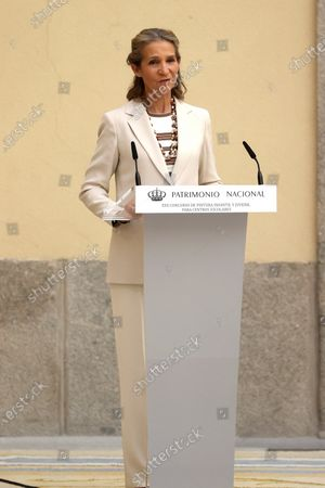 Spain's Infanta Elena chairs the handover ceremony of the 30th edition of the 'Children and Youth Painting Contest for School Centers' of National Heritage at El Pardo Palace in Madrid, Spain, 29 June 2021.