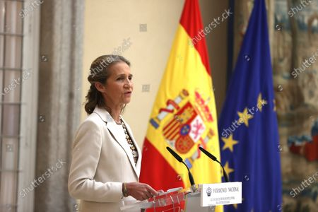 Stock Photo of Spain's Infanta Elena chairs the handover ceremony of the 30th edition of the 'Children and Youth Painting Contest for School Centers' of National Heritage at El Pardo Palace in Madrid, Spain, 29 June 2021.