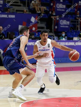 Dominican Republic's Gelvis Solano (R) in action against Serbia's Nikola Kalinic (L) during the Men's Olympic Qualifying Tournament game between Dominican Republic and Serbia in Belgrade, Serbia, 29 June 2021.