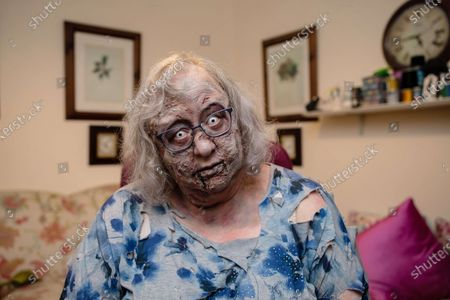 Stock Photo of Jackie Weaver, who became an internet sensation during a meeting of Handforth Parish Council, unveils a deadly make-up look inspired by 'The Walking Dead', to launch a new bookable service that allows weary workers and fans to hire a member of the living dead to take their place during a video call