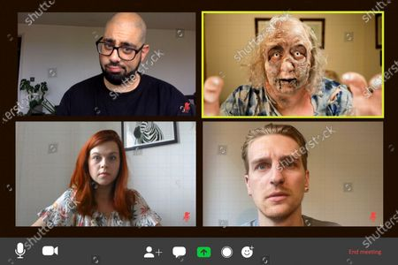 Jackie Weaver, who became an internet sensation during a meeting of Handforth Parish Council, unveils a deadly make-up look inspired by 'The Walking Dead', to launch a new bookable service that allows weary workers and fans to hire a member of the living dead to take their place during a video call