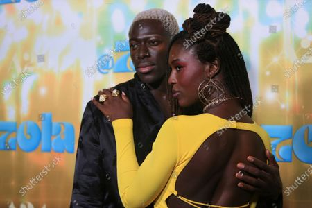 """Moses Sumney and Jodie Turner-Smith seen at Los Angeles special screening of A24's """"ZOLA"""", in Los Angeles"""