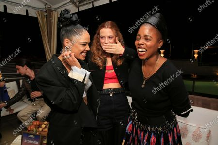 """Tessa Thompson, Riley Keough and co-writer/director Janicza Bravo seen at Los Angeles special screening of A24's """"ZOLA"""", in Los Angeles"""