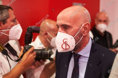 "Ramon Rodriguez ""Monchi"", Sport Director of Sevilla Futbol Club during the renewal act of Jesus Navas, player of Sevilla Futbol Club at Sanchez Pizjuan stadium on June 28, 2021 in Seville, Spain."