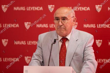 Jose Antonio Araujo, journalist of Sevilla Futbol Club, during the renewal act of Jesus Navas, player of Sevilla Futbol Club at Sanchez Pizjuan stadium on June 28, 2021 in Seville, Spain.