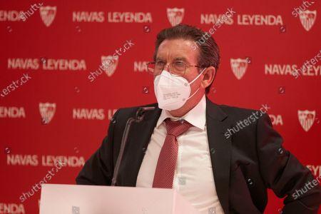 Francisco Navas, father of Jesus Navas, during the renewal act of Jesus Navas, player of Sevilla Futbol Club at Sanchez Pizjuan stadium on June 28, 2021 in Seville, Spain.