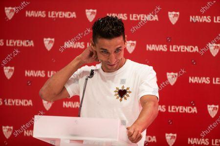 Jesus Navas during the renewal act of Jesus Navas, player of Sevilla Futbol Club at Sanchez Pizjuan stadium on June 28, 2021 in Seville, Spain.