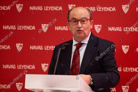 Jose Castro, President of Sevilla Futbol Club, during the renewal act of Jesus Navas, player of Sevilla Futbol Club at Sanchez Pizjuan stadium on June 28, 2021 in Seville, Spain.