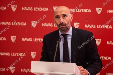 "Ramon Rodriguez ""Monchi"", Sport Director of Sevilla Futbol Club, during the renewal act of Jesus Navas, player of Sevilla Futbol Club at Sanchez Pizjuan stadium on June 28, 2021 in Seville, Spain."