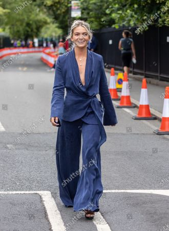 Stock Picture of Murray fan and celeb Louisa Johnson arrives at Wimbledon to see Andy Murray play his second round match against German Oscar Otte on Centre Court today on the third day of the Championships. The 2021 AELTC Tennis Championships at Wimbledon, southwest London is back for the first time in two years after it was cancelled last year due to the Covid-19 pandemic. However, capacity is down by 50% and fans must pre-ordered tickets with no overnight camping.