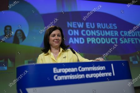 European Commissioner for Values and Transparency Vera Jourova arrives to a news conference following a weekly College of Commissioners meeting at the EU headquarters in Brussels