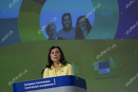 European Commissioner for Values and Transparency Vera Jourova speaks during a news conference following a weekly College of Commissioners meeting at the EU headquarters in Brussels