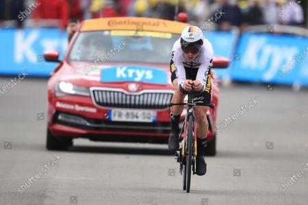German rider Tony Martin of the Jumbo Visma team approaches the finish line during the 5th stage of the Tour de France 2021, an individual time trial over 27.2 km from Change to Laval Espace Mayenne, France, 30 June 2021.