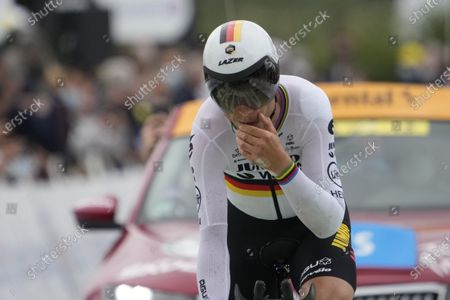 German rider Tony Martin of the Jumbo Visma team crosses the finish line during the 5th stage of the Tour de France 2021, an individual time trial over 27.2 km from Change to Laval Espace Mayenne, France, 30 June 2021.