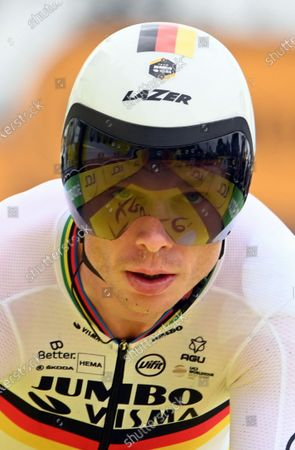 Stock Picture of German Tony Martin of Team Jumbo-Visma crosses the finish line at the fifth stage of the 108th edition of the Tour de France cycling race, a 27,2km individual time trial from Change to Laval Espace Mayenne, France, Wednesday 30 June 2021. This year's Tour de France takes place from 26 June to 18 July 2021.
