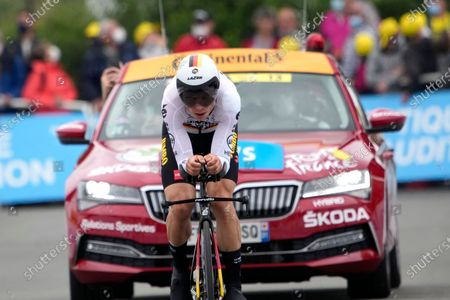 German Tony Martin crosses the finish line of the fifth stage of the Tour de France cycling race, an individual time-trial over 27.2 kilometers (16.9 miles) with start in Change and finish in Laval Espace Mayenne, France