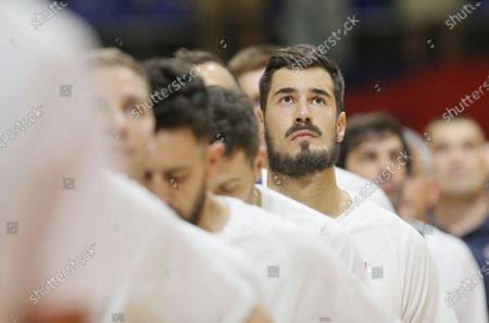 Stock Photo of Nikola Kalinic FIBA Olympic Qualifying Tournament basketball match between Serbia and Dominican Republic in Belgrade, Serbia on June 29, 2021.