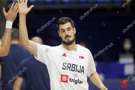 Stock Picture of Nikola Kalinic FIBA Olympic Qualifying Tournament basketball match between Serbia and Dominican Republic in Belgrade, Serbia on June 29, 2021.