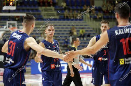 Ognjen Dobric Stefan Jovic Filip Petrusev Nikola Kalinic FIBA Olympic Qualifying Tournament basketball match between Serbia and Dominican Republic in Belgrade, Serbia on June 29, 2021.