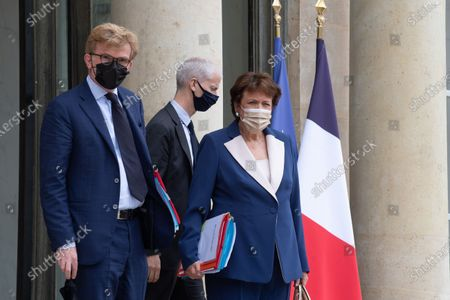 French Junior Minister of Relations with the Parliament Marc Fesneau, French Culture Minister Roselyne Bachelot and French Junior Minister of Foreign Trade Franck Riester