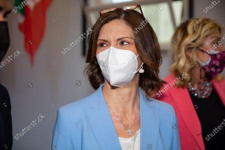 """Mariastella Gelmini attends the Forza Italia """"Milano Ci Siamo"""" press conference at Palazzo delle Stelline on June 25, 2021 in Milan, Italy."""