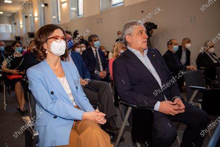 """Mariastella Gelmini and Antonio Tajani attends the Forza Italia """"Milano Ci Siamo"""" press conference at Palazzo delle Stelline on June 25, 2021 in Milan, Italy."""