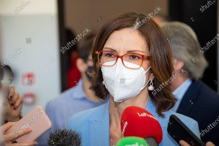 """Stock Photo of Mariastella Gelmini attends the Forza Italia """"Milano Ci Siamo"""" press conference at Palazzo delle Stelline on June 25, 2021 in Milan, Italy."""