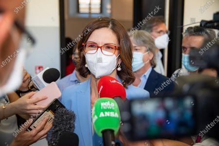 """Stock Image of Mariastella Gelmini attends the Forza Italia """"Milano Ci Siamo"""" press conference at Palazzo delle Stelline on June 25, 2021 in Milan, Italy."""