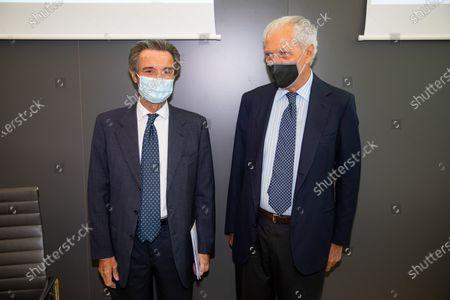 """Attilio Fontana and Marco Tronchetti Provera attend """"60 Years Of Pirellone"""" exhibition press conference at Palazzo Pirelli on June 29, 2021 in Milan, Italy."""