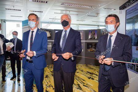 """Stock Photo of Attilio Fontana, Marco Tronchetti Provera and Alessandro Fermi attend """"60 Years Of Pirellone"""" exhibition press conference at Palazzo Pirelli on June 29, 2021 in Milan, Italy."""