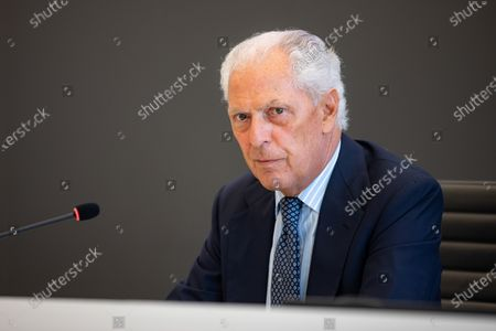 """Stock Picture of Marco Tronchetti Provera attends """"60 Years Of Pirellone"""" exhibition press conference at Palazzo Pirelli on June 29, 2021 in Milan, Italy."""