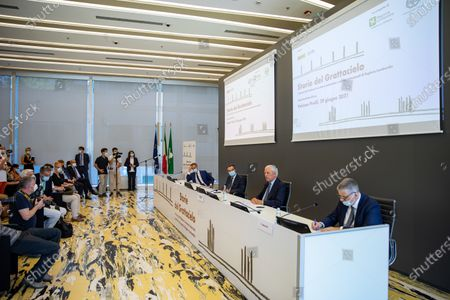 """Attilio Fontana, Marco Tronchetti Provera and Alessandro Fermi attend """"60 Years Of Pirellone"""" exhibition press conference at Palazzo Pirelli on June 29, 2021 in Milan, Italy."""