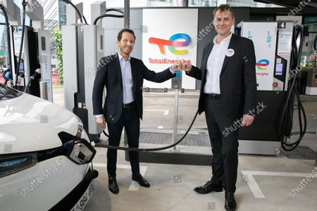 Editorial picture of TotalEnergies and Uber sign partnership on the use of electric service stations, Paris, France - 29 Jun 2021