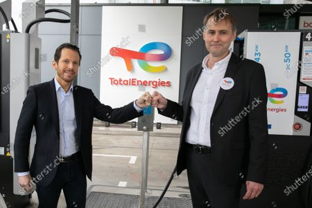 Editorial image of TotalEnergies and Uber sign partnership on the use of electric service stations, Paris, France - 29 Jun 2021