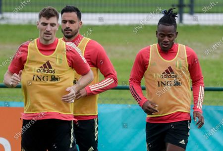 (L-R) Thomas Meunier, Nacer Chadli and Michy Batshuayi of Belgium during a training session of the Belgian national soccer team in Tubize, Belgium, 30 June 2021. Belgium face Italy on 02 July 2021 in their UEFA EURO 2020 quarterfinal match.