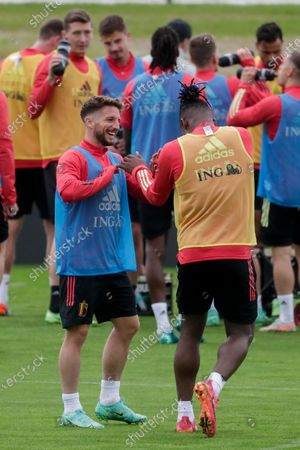 Stock Image of Dries Meertens (L) and Michy Batshuayi of Belgium attend a training session of the Belgian national soccer team in Tubize, Belgium, 30 June 2021. Belgium face Italy on 02 July 2021 in their UEFA EURO 2020 quarterfinal match.