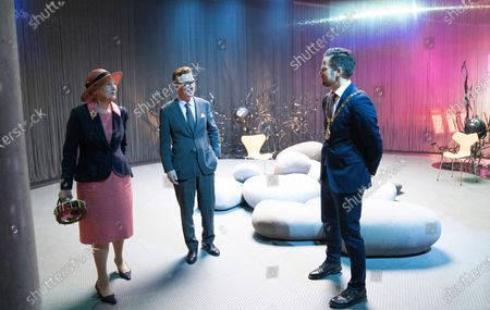 Queen Margrethe II of Denmark (L) with mayor of Odense, Peter Rahbaek Juel (R) is given a tour of the exhibit by creative director and director of communications Henrik Luebker after opening the new H.C. Andersen Hus in Odense, Denmark, 30 June 2021. The new Hans Christian Andersen Museum celebrates the author of fairy tales like 'The Little Mermaid', who was born in Odense in 1805.